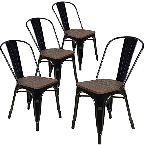Lch Industrial Metal Vintage Stackable Dining Chairs Set