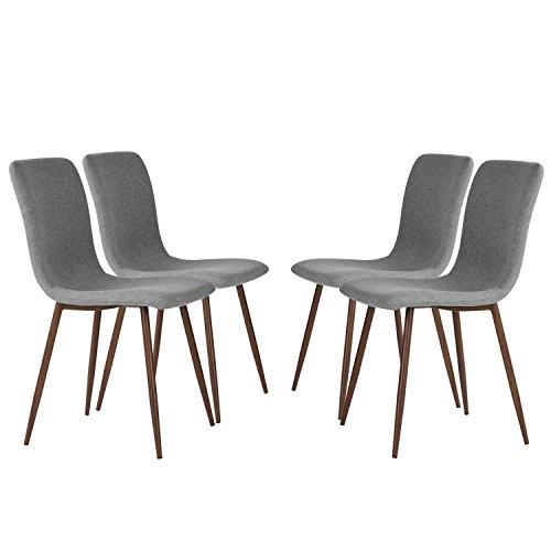 Set of 4 Dining Chairs Coavas Fabric Cushion Kitchen ...
