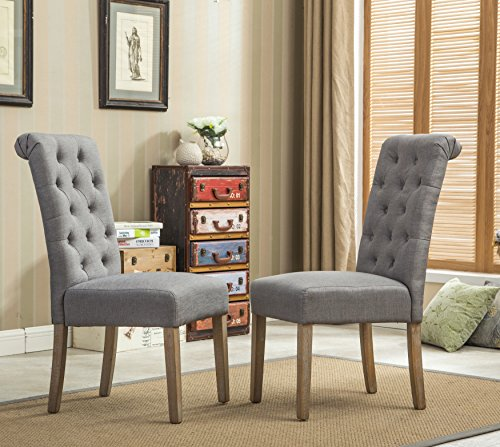 Roundhill Furniture Habit Grey Solid Wood Tufted Parsons