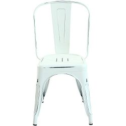 Poly and Bark Tolix Style Bistro A Dining Side Chair (Set of 2), Distressed White
