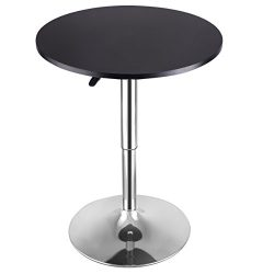 Costway Modern Round Bar Table Adjustable Bistro Pub Counter Wood Top Swivel Indoor (1)