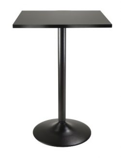 Winsome Obsidian High Table Square Black Mdf Top with Black Leg And Base