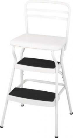 Cosco Retro Counter Chair/Step Stool with Lift-up Seat, White