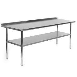 Gridmann Stainless Steel Commercial Kitchen Prep & Work Table w/ Backsplash – 72″ ...
