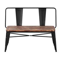 iKayaa 2 Seater Kitchen Dining Bench Chair W/ Backrest Natural Pinewood Top Metal Frame Patio Ga ...