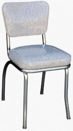 Richardson Seating Cracked Ice Retro Chrome Kitchen Chair with 2″ Box Seat, Grey