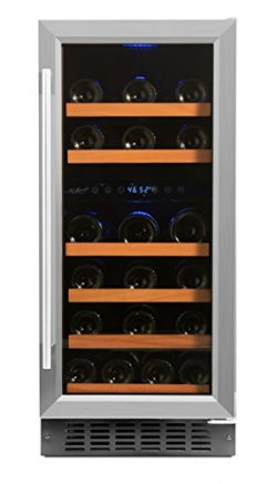 Smith & Hanks RW88DR 32 Bottle Dual Zone Under Counter Wine Refrigerator, 15 Inches Wide, Bu ...