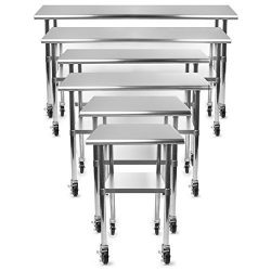 Gridmann NSF Stainless Steel Commercial Kitchen Prep & Work Table w/ 4 Casters (Wheels) R ...