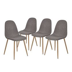 GreenForest Dining Side Chairs Strong Metal Legs Fabric Cushion Seat and Back for Dining Room Ch ...