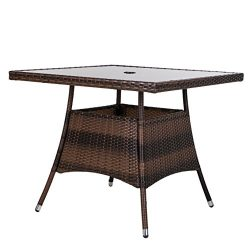 LUCKUP 36″ x 36″ Patio Outdoor Wicker Rattan Dining Table Tempered Glass Top Umbrell ...