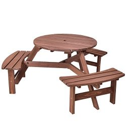 Giantex 6 Person Round Picnic Table Set Outdoor Pub Dining Seat Wood Bench