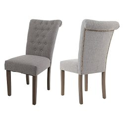 Merax Set of 2 Fabric Dining Chairs with Solid Wood Legs, Gray