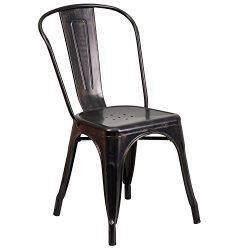 Flash Furniture Black-Antique Gold Metal Indoor-Outdoor Stackable Chair