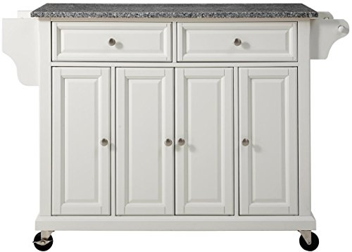 Crosley Furniture Rolling Kitchen Island With Solid Grey Granite Top White Diningbee Diningbee