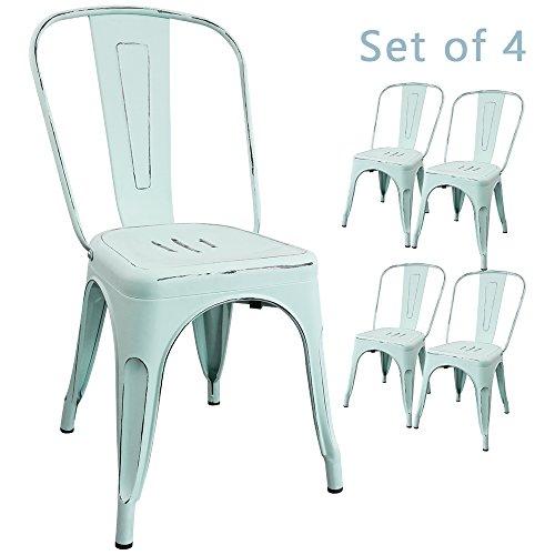 Devoko Metal Indoor Outdoor Chairs Distressed Style