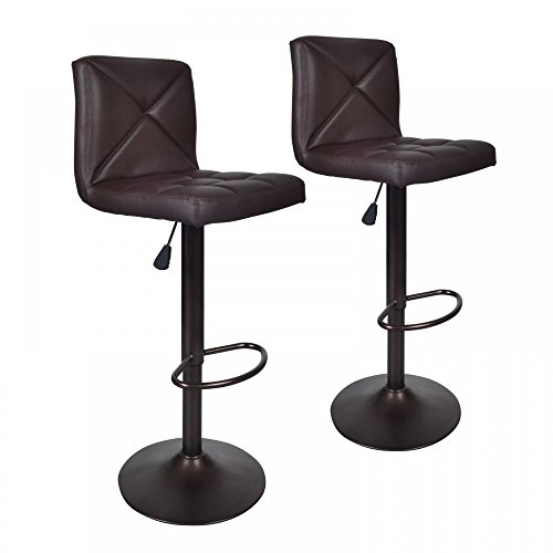 Brown 2 Pu Leather Modern Adjustable Swivel Barstools