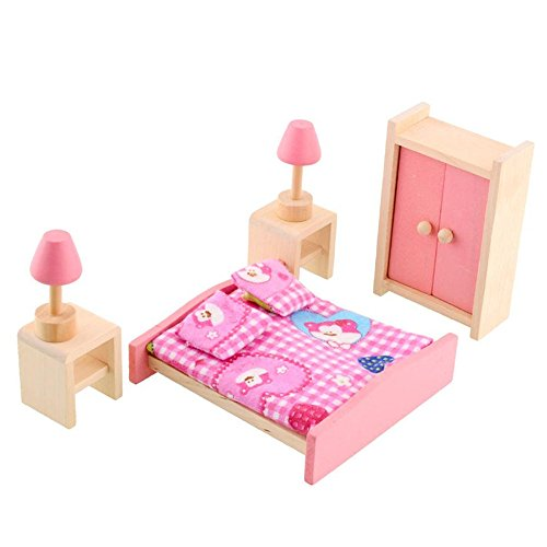 Wooden Doll House Furniture Set Miniature Bathroom Kid