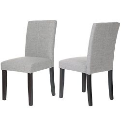 Merax Classic Fabric Dining Chairs with Solid Wood Legs Set of 2 (Grey)