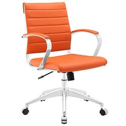 Modway Jive Ribbed Mid Back Executive Office Chair With Arms In Orange