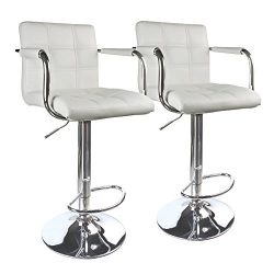 Leopard PU Leather Swivel Modern Square Back Adjustable Bar Stools with arm,Set of 2,White