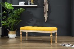 Roundhill Furniture CB161YL Habit Solid Wood Button Tufted Dining Bench, Yellow