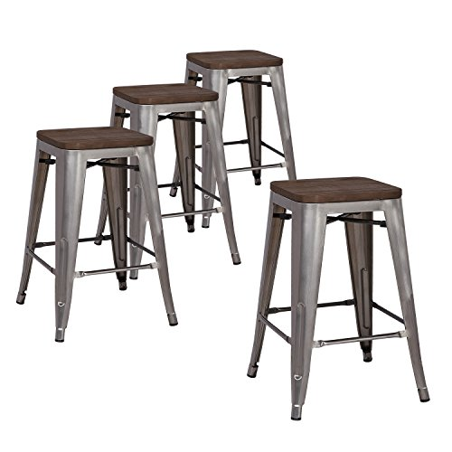 Lch 24 Quot Metal Industrial Stackable Bar Stools Set Of 4