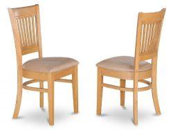 East West Furniture VAC-OAK-C Microfiber Upholstered Seat Dining Chairs, Oak Finish, Set of 2