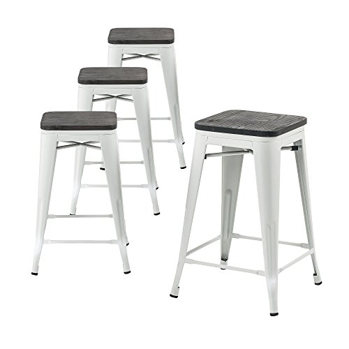Buschman Set Of Four Matte White Wooden Seat 24 Inches
