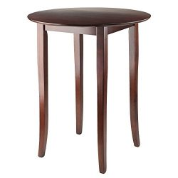 Winsome Fiona Round High Pub Table in Antique Walnut Finish