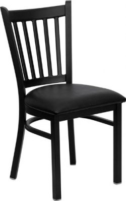 Flash Furniture HERCULES Series Black Vertical Back Metal Restaurant Chair – Black Vinyl Seat