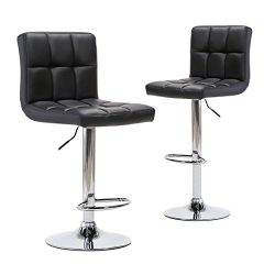 Adjustable Modern Swivel Bar Stools – Counter Height PU Leather Chair for Pub Kitchen by C ...