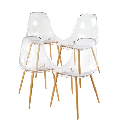 Clear Kitchen Chairs: GreenForest Acrylic Dining Side Chairs Transparent Clear