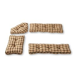 Greendale Home Fashions 4-Piece Nook Cushion Set, Applegate Plaid, Olive Green