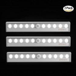 3 Pack Motion Sensor Closet Lights Portable Wireless Under Cabinet Lights 10-LED Battery Operate ...