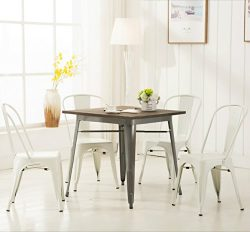 Modern Vintage White Metal Stackable Dining Chic Bistro Cafe Side Chair with Backs (Set of 4) To ...