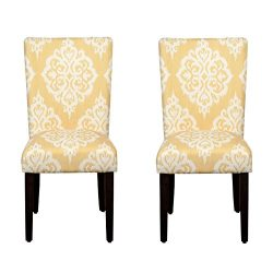 Kinfine Parsons Upholstered Accent Dining Chair, Set of 2, Yellow Damask