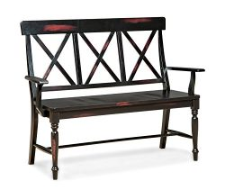 Intercon RN-CH-X725B-BLK-RTA Roanoke X Back Bench Wood Seat