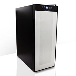 Nutrichef 12 Bottle Thermoelectric Wine Cooler Refrigerator | Red, White, Champagne Chiller | Co ...