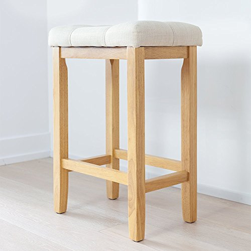 Wood Kitchen Counter Barstool Backless Upholstered Saddle Seat 24 Inch Beige Cushion