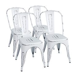 Furmax Metal Chairs Distressed Style Dream White Indoor/Outdoor Use Stackable Chic Dining Bistro ...