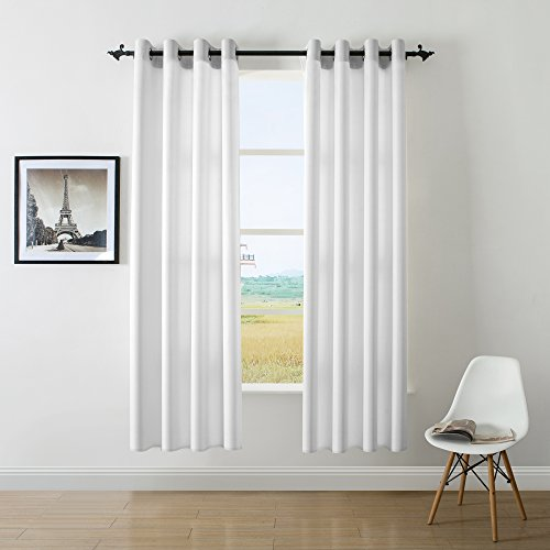 Dwcn Cream White Faux Linen Room Darkening Curtains For