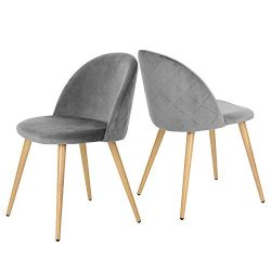 GreenForest Dining & Leisure Chair. Wood Legs Velvet Cushion Seat and Back for Dining and Li ...