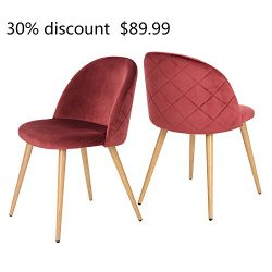""""""" 30% discount """" GreenForest Dining & Leisure Chair. Wood Legs Velvet Cushion Seat and Back  ..."""