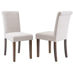 Merax Stylish Dining Chairs with Nailhead Detail and Solid Wood Legs, Set of 2 (Light Beige)