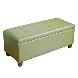 Kinfine Large Leatherette Storage Bench with Hinged Lip, Moss Green