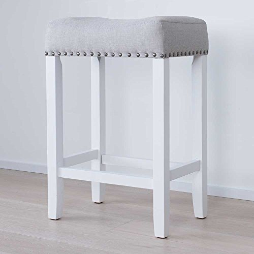 wood kitchen counter bar stool backless upholstered nailhead trim saddle seat 24 inch gray. Black Bedroom Furniture Sets. Home Design Ideas