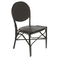 Table in a Bag CBCBB All-Weather Wicker French Café Bistro Chair with Aluminum Frame, Black