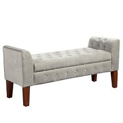 Kinfine Velvet Tufted Storage Bench Settee with Hinged Lid, Grey