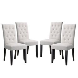 LANGRIA High Back Button Tufted Dining Chair Modern Faux Linen Upholstered with Diamond Stitchin ...