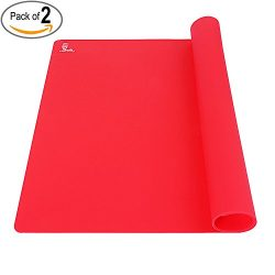 SUPER KITCHEN 2 Piece Food Grade Silicone Pastry Baking Mat, X-Large, Red, Set of 2